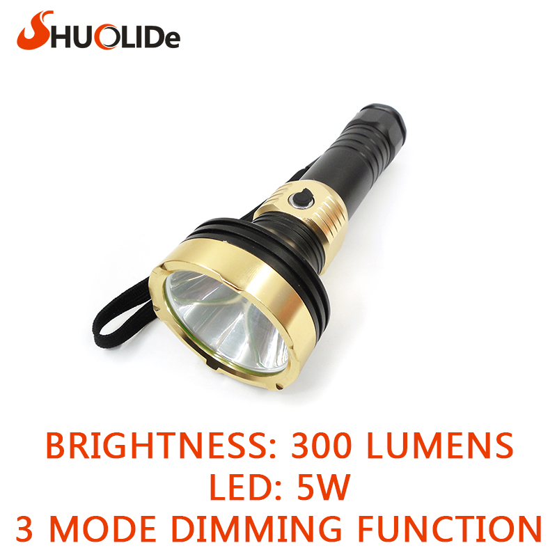 waterproof LED Flashlight 5W 300lm Waterproof LED light 3Modes LED Torch use 18650 battery rechargeable Flashlight Torch Lamp<br><br>Aliexpress