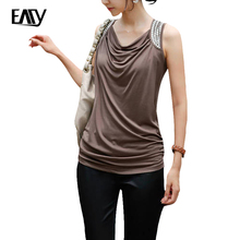 women tshirt 2017 summer t shirts sleeveless women clothing size M brown t-shirt for ladies cheap t-shirts with free shipping