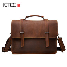 AETOO New leather business men bag crazy horse skin retro style cross section portable briefcase men casual shoulder Messenger b