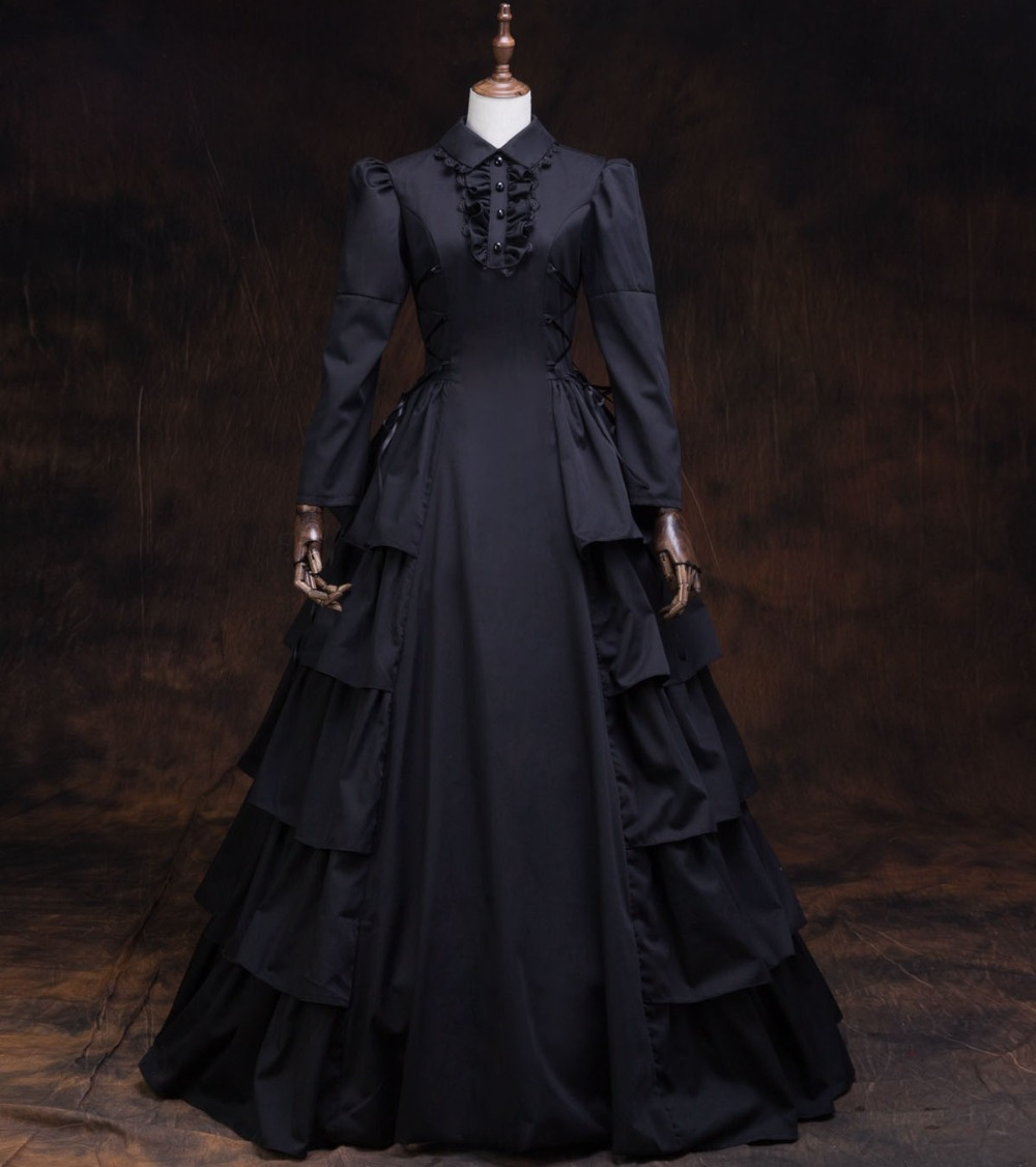 Classic Black Gothic Lolita Dress Victorian Multilayer Long Dress Period Dress Theatrical Steampunk Ball Gown Costume