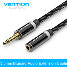 Vention 3.5mm Jack Male to Female Stereo Aux Extension Cable 1m/2m/3m/5m for iPhone iPod Car Headphone Nylon Braid Audio Cable(China)