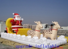 inflatable santa claus:Santa Claus rides the reindeer and the sled to send Christmas presents