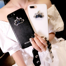 Dower Me Luxury Fashion Bling Diamond Crown With jewelry Flower Hand Strap PU Leather Phone Case Cover For iPhone 7 6 6S Plus