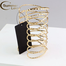 Hot Sale Punk Gold Arm Cuff Bangle Bracelet For Women Pulseiras Para As Mulheres Cuff Bracelet Manchette Bracelets &Bangles(China)