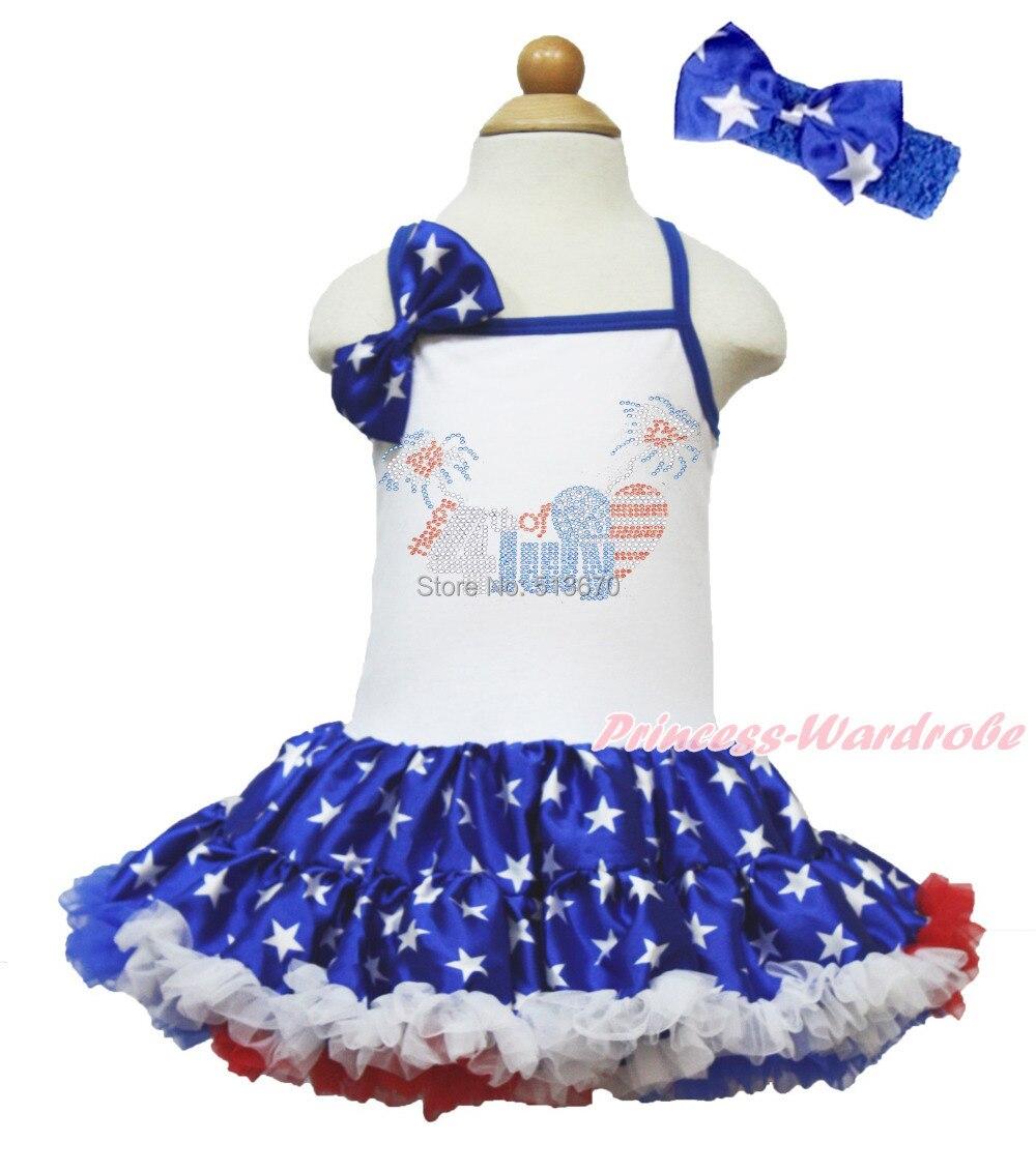Rhinestone Happy 4th July White Halter Patriotic Star Girl One Piece Dress 1-8Y MAHD046<br>