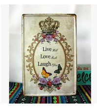 Free shipping metal wall art - Live Well, Laugh Often, Love Much Tin Signs ,vintage home decor ,size 30x20cm L12(China)