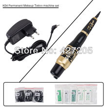 Free Shipping Permanent Makeup Eyebrow Rotary Tattoo Machine Microblading Pen Kit with 50 Needles 50 Tips EU or US Plugs(China)