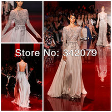 ph03395 silver chiffon dress with fully embroidered bodice open v back elie saab haute couture long evening dress