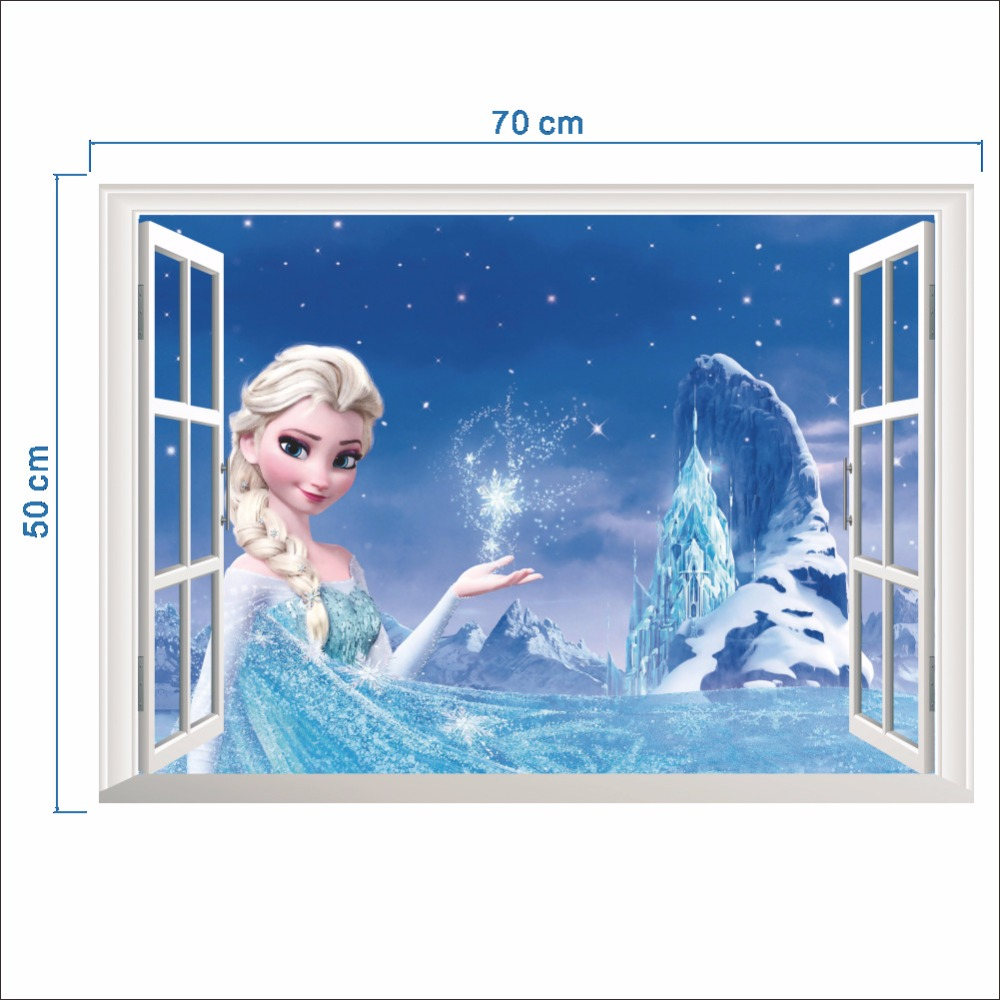HTB1hptWeMLD8KJjSszeq6yGRpXa2 - Fashion Cartoon Elsa Anna wall stickers girl Children room background decor stickers removable kids bedroom movie poster decal