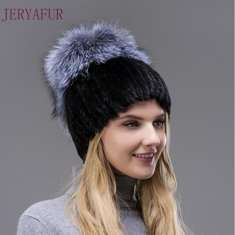 Hot Sale Style Real Mink Fur Hat Winter Warm Cap For Women Imported Mink Hats Hand-weaving With Fox Fur And Leather On The TopÎäåæäà è àêñåññóàðû<br><br>
