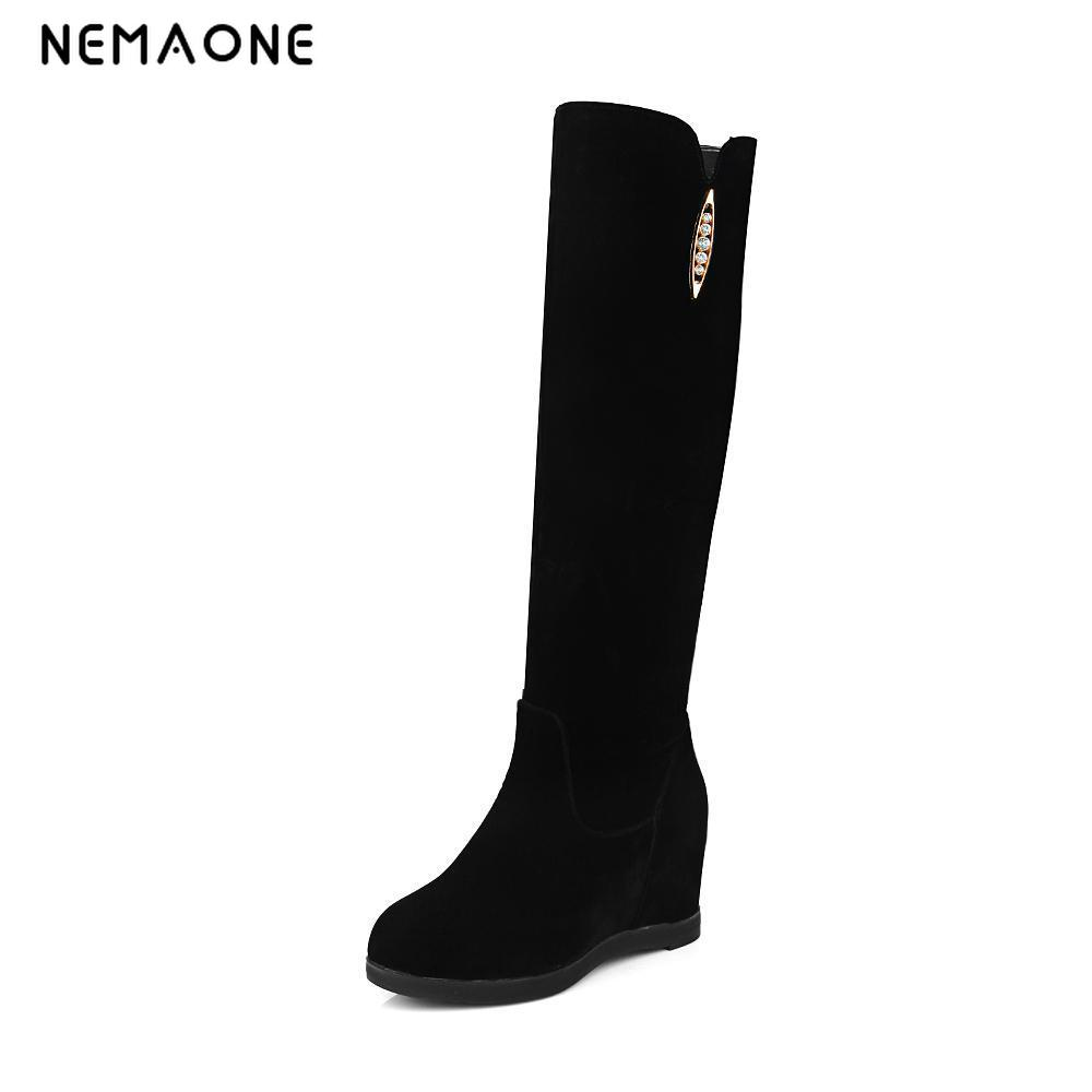 NEMAONE New Sexy Womens Hidden Wedges Knee Boots Brand High Heels Platform Boots Trifle Slip on Winter Boots Shoes Woman Boots<br>