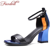 FACNDINLL brand shoes fashion patent leather sandals summer shoes woman gladiator sandals high heels sexy open toe women shoes(China)