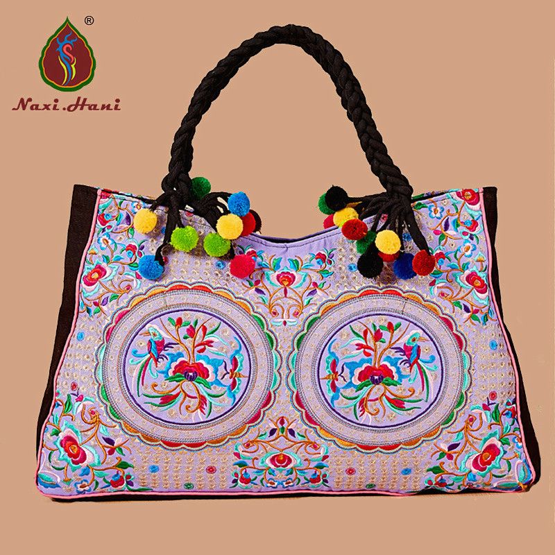 OnLine Bohemia embroidered women handbags Ethnic Vintage handmade pompon canvas casual Large size Travel shoulder bags<br>