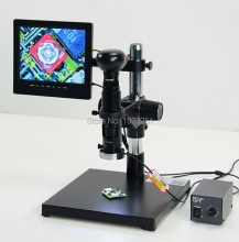 Best Sale,19X-135X HD Industry Mono LCD AV Zoom video microscope parfocal lens+Stand+AVcamera + LED ringlight + 8 '' LCD screen