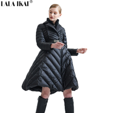 2017 LALA IKAI Women Duck Down Jacket Long Winter Miltar Parka Lady Warm Thick Jackets 90 duck down Coat with belt SWA0457-45(China)