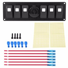 1 Set 12-24V 6 Gang White LED Rocker Switch Panel with Dual USB Voltmeter for Car RV Boat Marine(China)