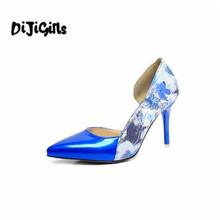 Brand Womens Shoes High Heels Women Pumps 8CM Heels Blue Shoes Woman Pumps Sexy Pointed Toe High Heels Wedding Shoes