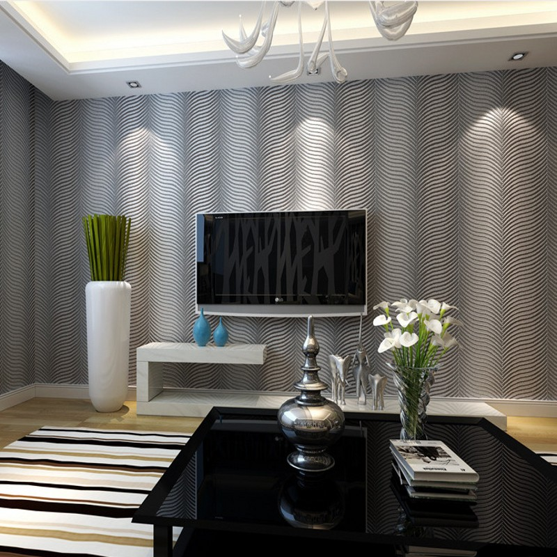 Free Shipping Modern abstract striped non woven fabric wallpaper geometric television background wall 3D stereo wallpaper<br>