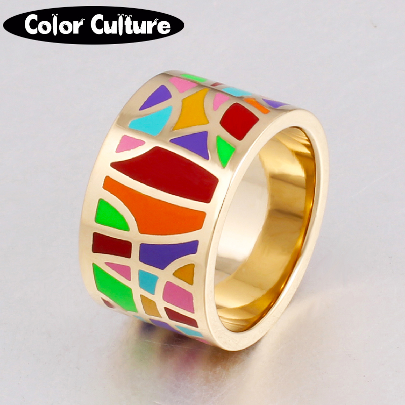 2017 Fashion Jewelry Vintage Big Stainless Steel Rings Women Filled Colorful Design Enamel Jewelry Rings Trendy Party