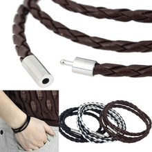 Knitted Round Rope Turn Buckle New Style! Latest Popular 3 Laps Leather Bracelet Men Women Vintage Bracelets & Bangles