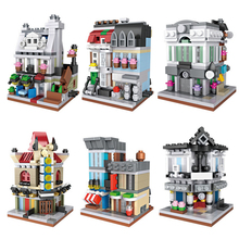 Hot Loz mini diamond building block city steet view bank pets shop Paris Restaurant Cinema Detective Agency Theatre bricks toys