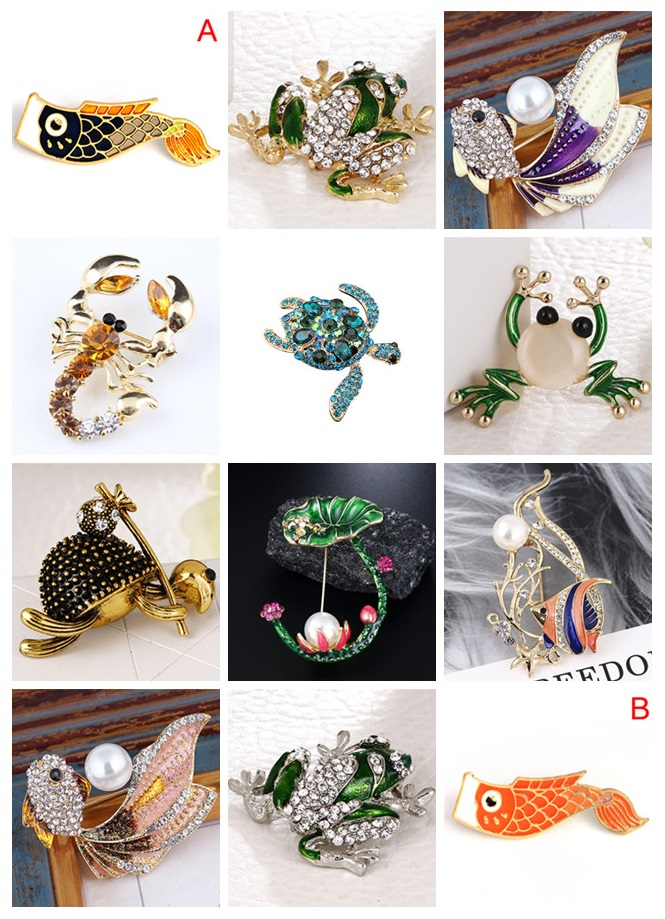 Rhinestone Fish Brooches For Women Fashion Enamel Frog/Turtle/Shrimp/Fish Brooch Pin Coat Accessories Gift High Quality 2019 New