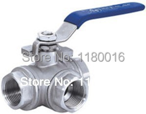 1/2 DN15 Manual female ball valve,3 way 304 screwed/thread stainless steel ball valve_handle T port gas/oil/liquid valve<br><br>Aliexpress