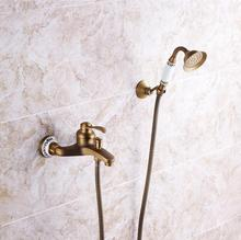 NEW Classic Retro Antique Brass exposed Shower Faucet Set Exposed bath Shower Set Bathroom Wall Mounted Shower Valve Set HJ-2589(China)