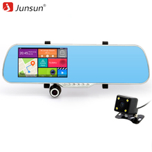"Junsun 5"" Car GPS Navigation Android with car DVR video recorder Rearview mirror navigator truck gps Automotive russia Map Free"