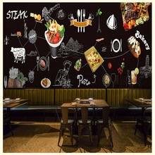photo wallpaper Industrial style Western steak food chalk graffiti mural Korean beef meal bar fast food restaurant wallpaper