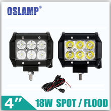 "Oslamp 2pcs 18W 4"" Reflection Cup Led Work Light Spot/Flood OffRoad Driving Light 6000k Fog Lamps Car Boat 12v 24v ATV SUV Truck"