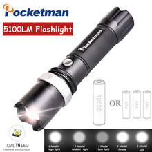 LED Tactical Flashlight 5100LM CREE XM-L T6 Q5 Zoomable led Torch Waterproof Rechargeable 18650 AAA Camping Hiking