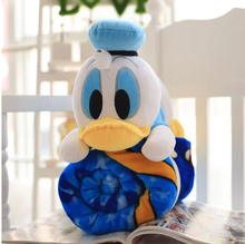 Aeruiy cute soft plush cartoon anime Donald Duck toy doll pillow with a blue air condition blanket, creative birthday gift, 1pc(China)