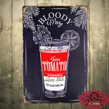 T-Ray Retro Tin Sign Nostalgic Alcohol Retro Bloody Mary recipe B-128