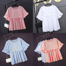 New Fashion Women Ladies Chiffon Short Sleeve Shirts Casual Clothes Blouses Loose Solid Ruffles Clothing Hot(China)