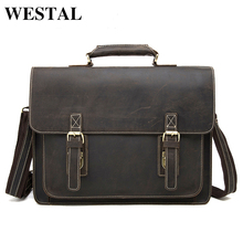 WESTAL business men's leather briefcase handbag Totes vintage laptop bag crazy horse genuine leather men bag male shoulder bags(China)