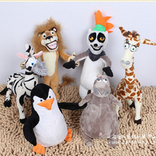 Wholesale 6 pcs/lot Madagascar Plush Toys Lion Giraffe Penguin Zebra Hippo Monkey Children's Gift Kids Toys(China)