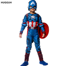 HUGGUH New Captain America Costume Boys Children Clothing Halloween Super Heroes Iron Man Cosplay Costume Exotic Apparel H166293