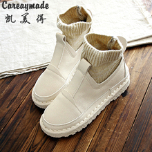Careaymade-2017 winter new hot sale art RETRO all-match leisure PU female boots Mori girl comfortable short boots,4 colors