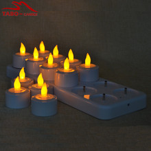Beautiful Warm Mood Flame Light Rechargeable LED Tealight Candle Set of 12 Perfect for Home Decoration with Candle Holder(China)