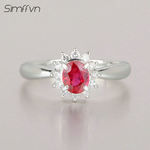 Classic Style 0.48Ct Ruby Gemstone Ring With Natural Diamond Stamped By  Pt900 Platinum Fine Jewelry Engagement Ring For Women