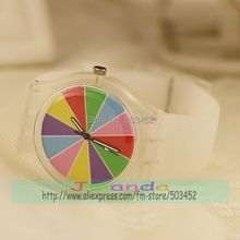 100pcs/lot Rainbow Color Silicone Watch Fashion Ladies Quartz Casual Watch Factory Price Dress Watch For Christmas Day