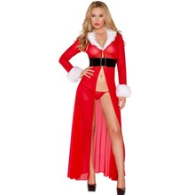 Women Envy Miss Claus Long Robe with G-string A7291 2017 Sexy Red Christmas Costumes Santa Claus for Adults Dress With Thong