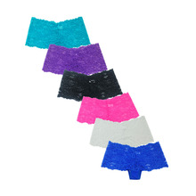 6 pcs/lot Sexy G String Women Lace Transprent Low Waist Thongs Briefs panties underwear women Boxer Boyshorts Boy Shorts