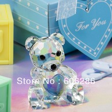 Free shipping 50pcs/lot Wedding items-- Baby shower choice Crystal Collection Teddy Bear Favors figurines blue box(China)