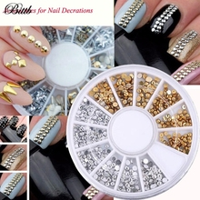 Bittb 1 Set Gold Silver Color Nail Decoration Rivet Stars Rhomb Triangle Waterdrop Shape Nail Art Dotting Decoration Nail Tools