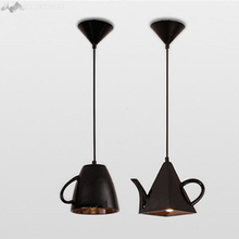 Teapot shape lampshade Modern Resin Creative Droplight,E27 holder White/Black/Red Pendant Light for Restaurant Hanging lamp deco