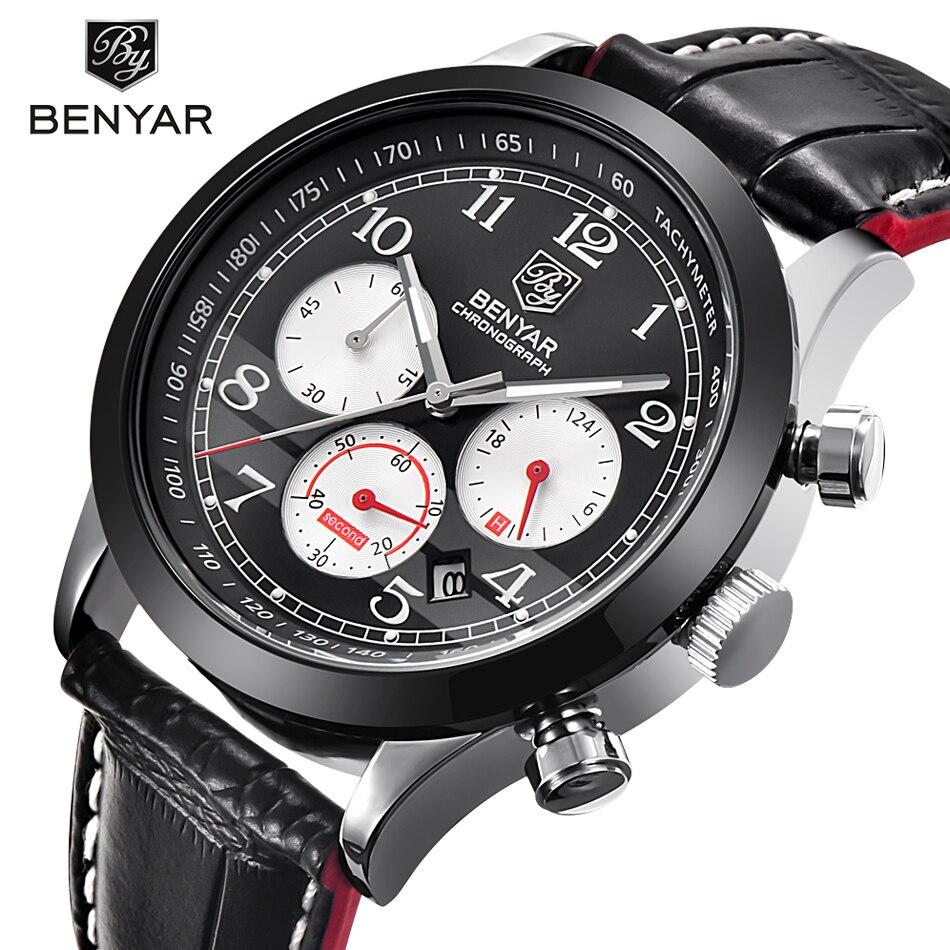 Relogio Masculino BENYAR Fashion Chronograph Sport Mens Watches Top Brand Luxury Quartz Military Watch Male erkek kol saati<br>