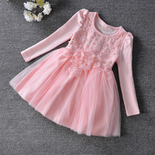 New Type Children Toddler dress, flowers pearls baby girls dress,christmas dress,kids clothes Ball Gown with Sparkling 3-9T pink