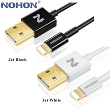 NOHON Jet Black 8 Pin USB Fast Charge Cable for iPhone 7 6S 6 Plus 5 5S Lightning TPE Gold Plated 5V 2A Data Charging Cable Wire